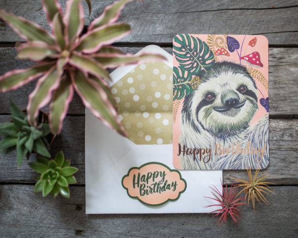 fern sloth happy birthday card